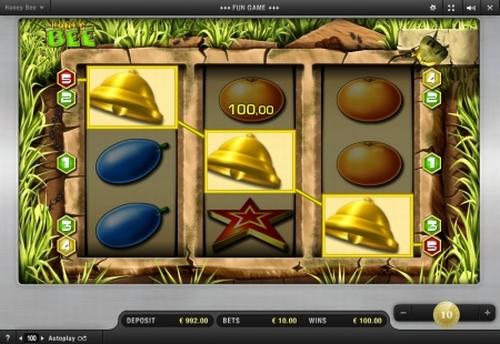 Das Honey Bee Autmatenspiel von Merkur im Online Casino.